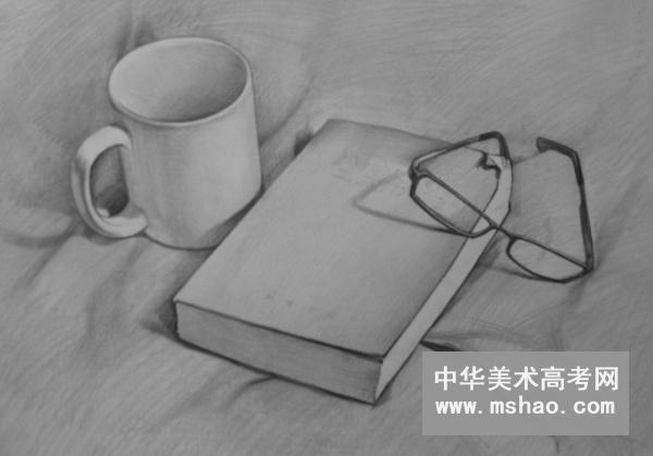 素描静物组合-陶罐 书 眼镜 桔子 白菜 酒瓶 白瓷杯 玻璃杯