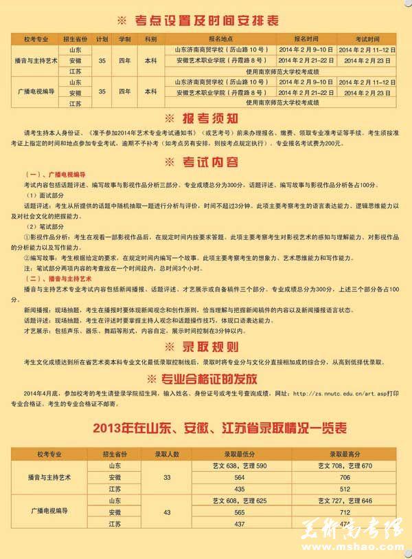 南京师范大学泰州学院2014年播音主持艺术、广播电视编导招生简章2