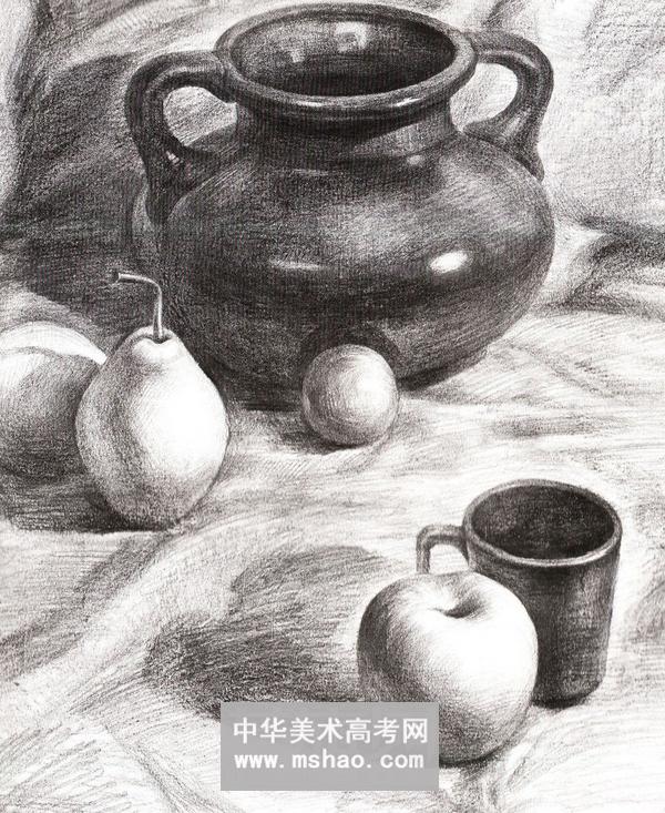 陶罐子与水果素描静物组合(组图)