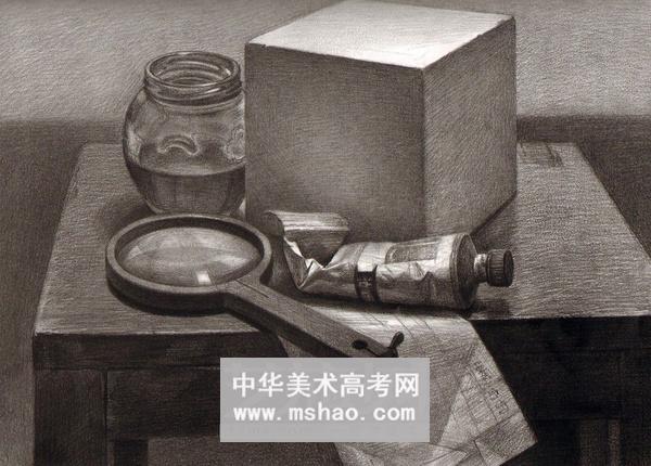精选素描静物组合保温水杯子 课本 眼镜 酒瓶作品