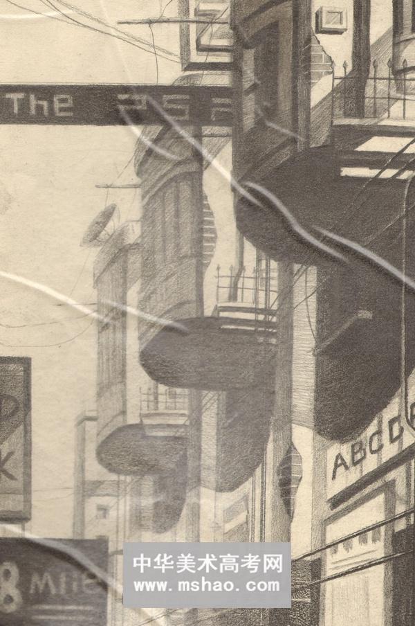 建筑素描-带阳台的高楼一角-华艺名画室学员解缙超作品欣赏