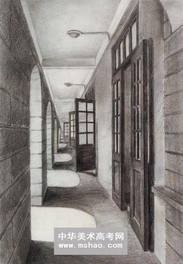 巷道 卧室 街道拐角 枯树 火车站 走廊 厂房等建筑素描
