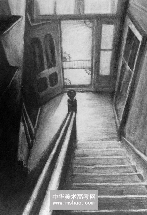 建筑素描-楼梯一角作品欣赏