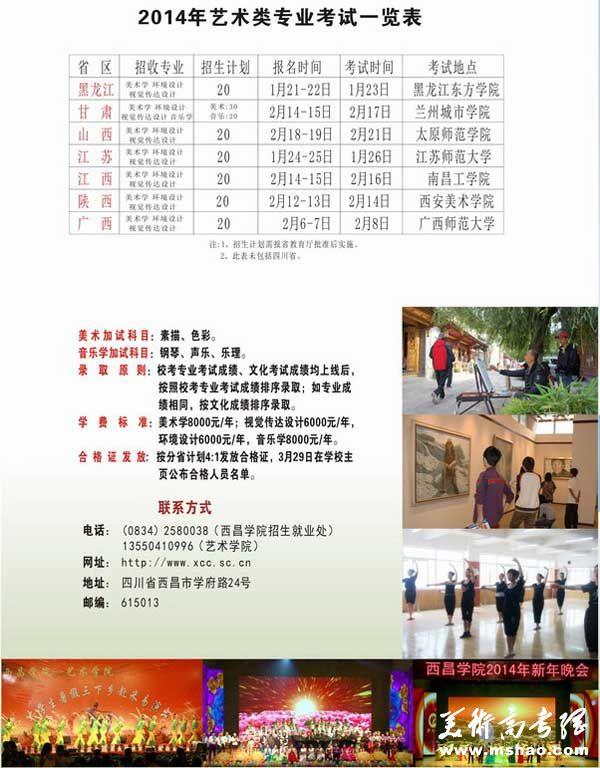 西昌学院2014年艺术类专业招生简章