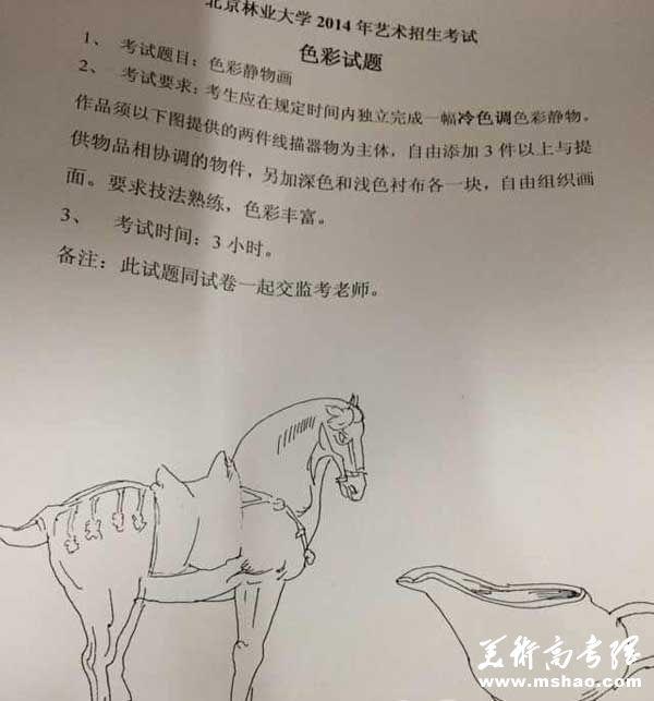 北京林业大学2014年美术校考考题(北京考点)