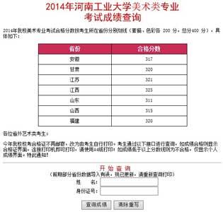 河南工业大学2014年艺术类专业成绩查询
