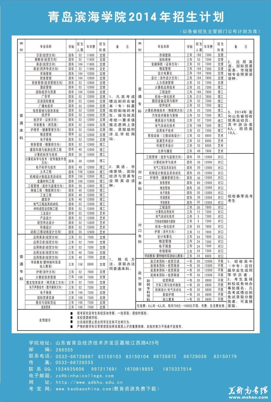 青岛滨海学院2014年招生简章6