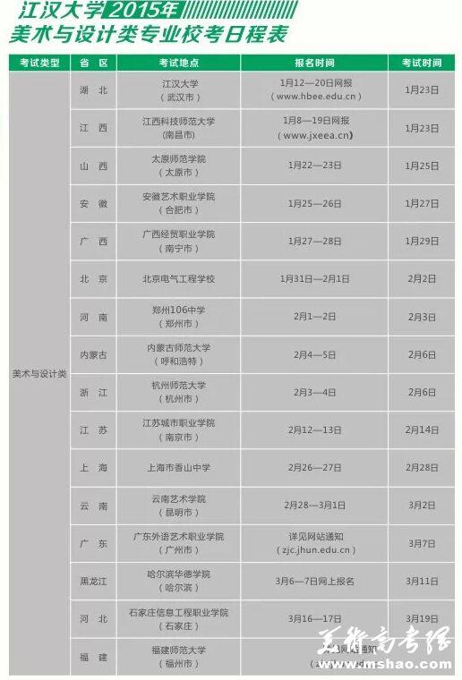 江汉大学2015年美术类专业校考考点时间安排