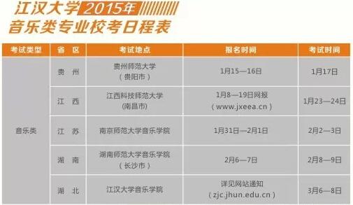 江汉大学2015年音乐类专业校考日程安排