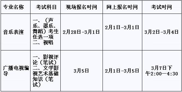 聊城大学东昌学院2015年艺术类专业考试科目