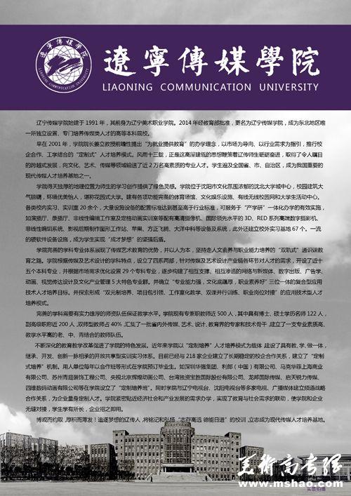 辽宁传媒学院2015年艺术类专业招生简章