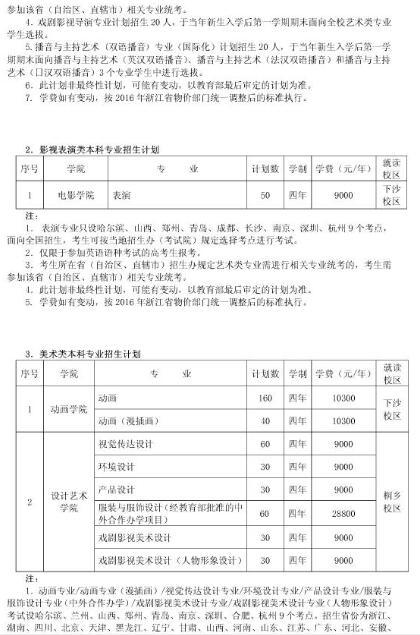 浙江传媒学院2016年艺术类专业招生简章3