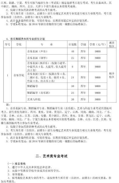 浙江传媒学院2016年艺术类专业招生简章4