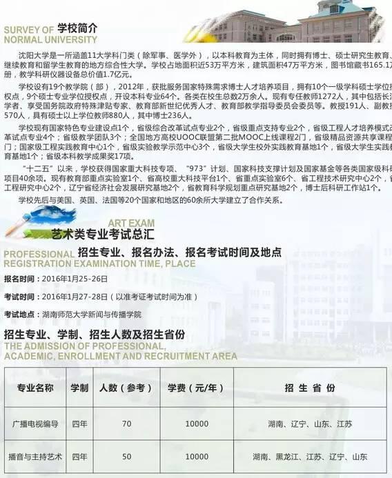 沈阳大学2016年省外艺术类专业招生简章3