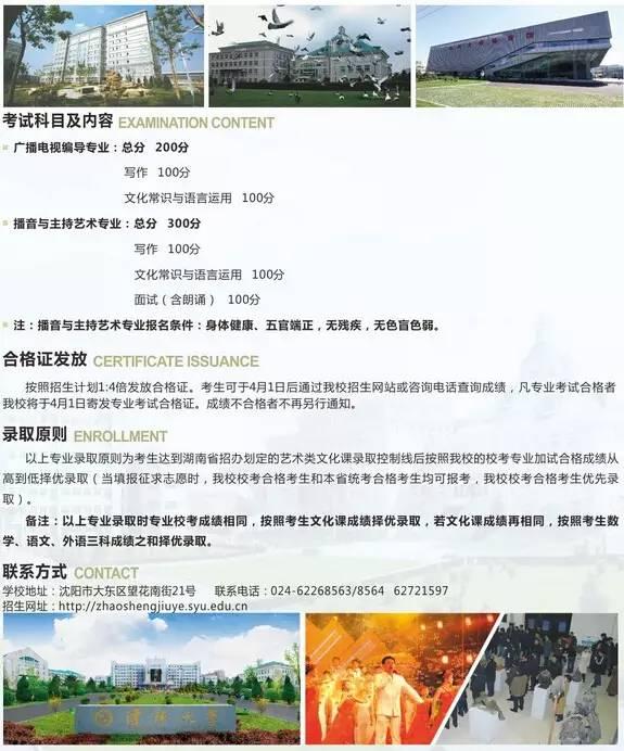 沈阳大学2016年省外艺术类专业招生简章4