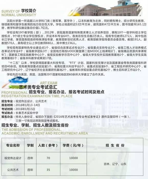 沈阳大学2016年省外艺术类专业招生简章5