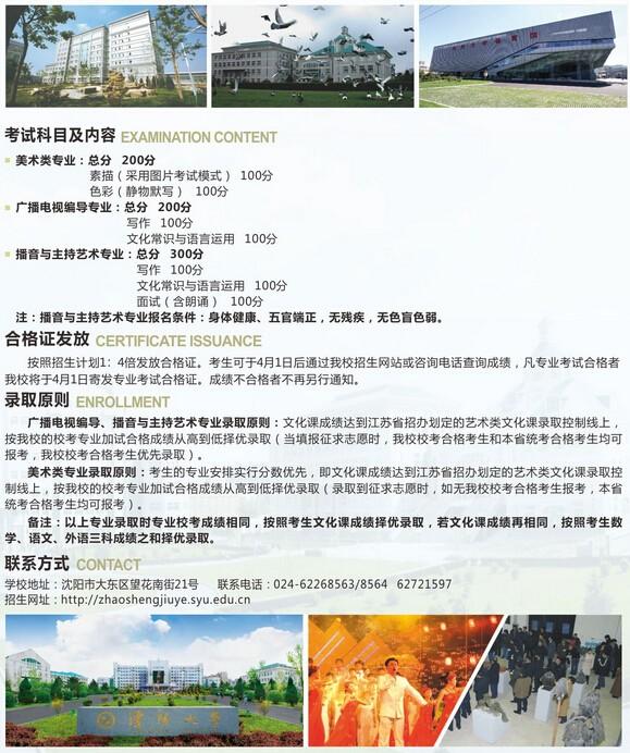 沈阳大学2016年省外艺术类专业招生简章8