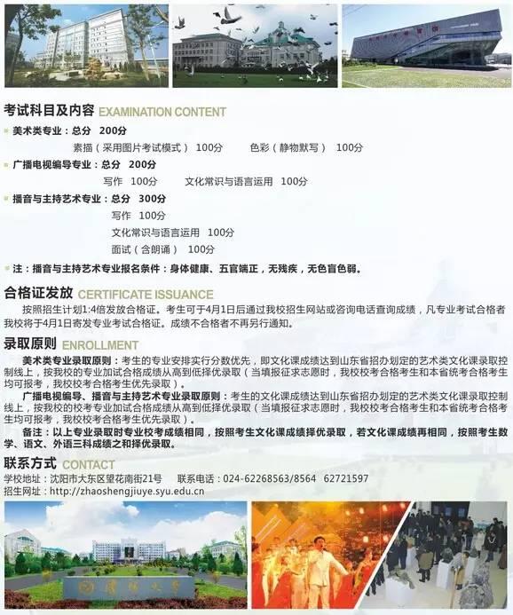 沈阳大学2016年省外艺术类专业招生简章10