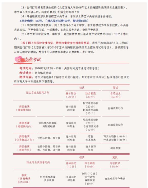 北京体育大学2016年艺术类舞蹈表演/表演专业招生简章8