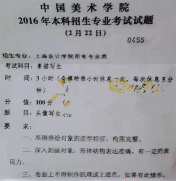 中国美术学院2016年本科专业校考素描考题(上海设计学院)