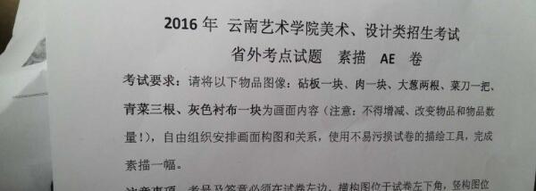 云南艺术学院2016年美术校考素描考题