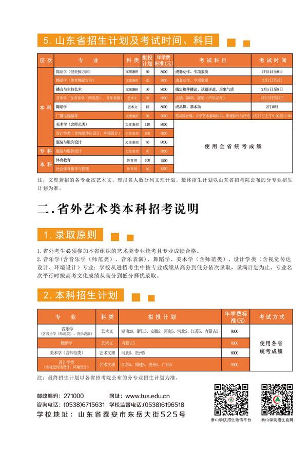 泰山学院2017年艺体类专业招生简章4