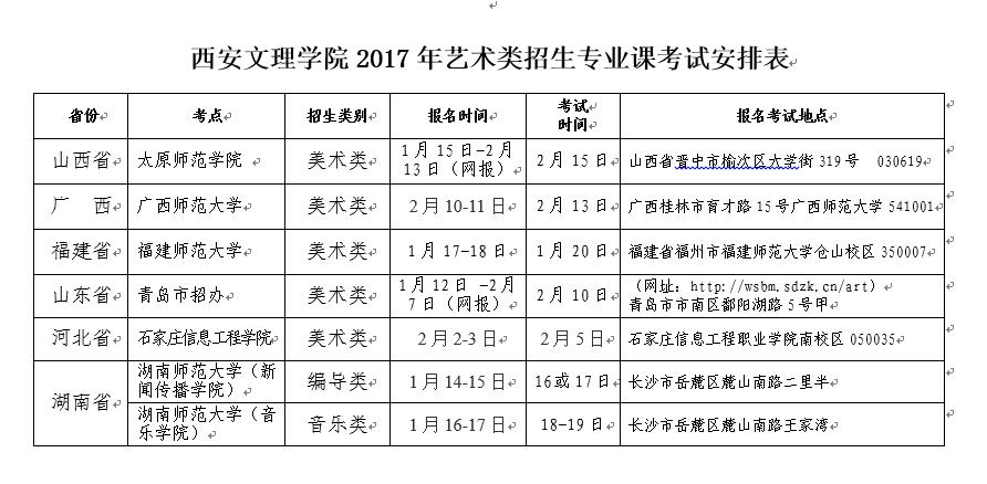 西安文理学院2017年省外艺术类专业课校考时间安排