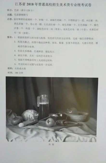 2018年江苏美术联考色彩考试题目
