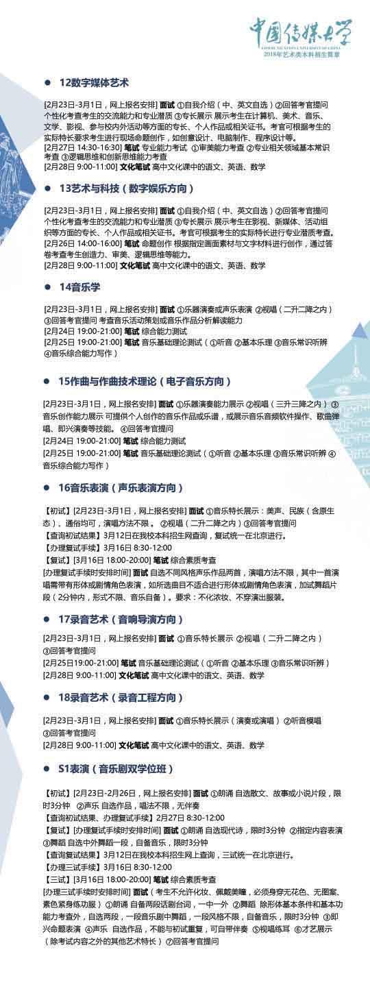 中国传媒大学2018年艺术类本科招生简章4