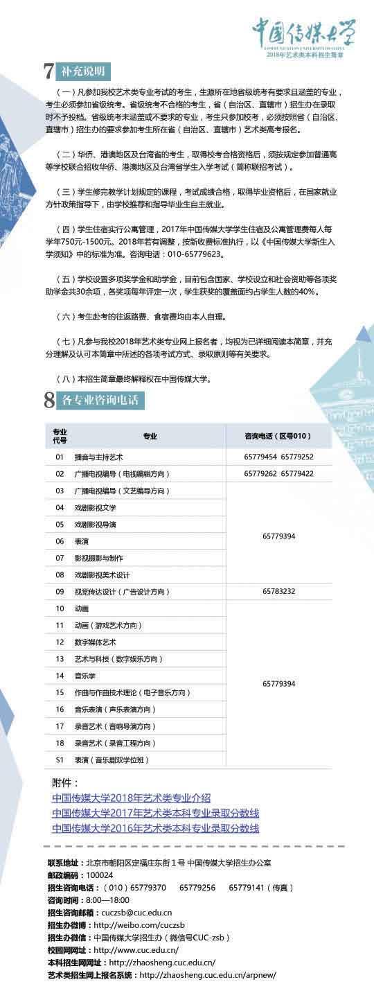 中国传媒大学2018年艺术类本科招生简章7