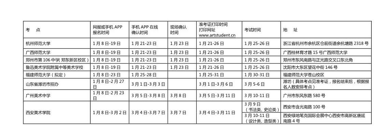 西安美术学院2018年校考考点时间安排