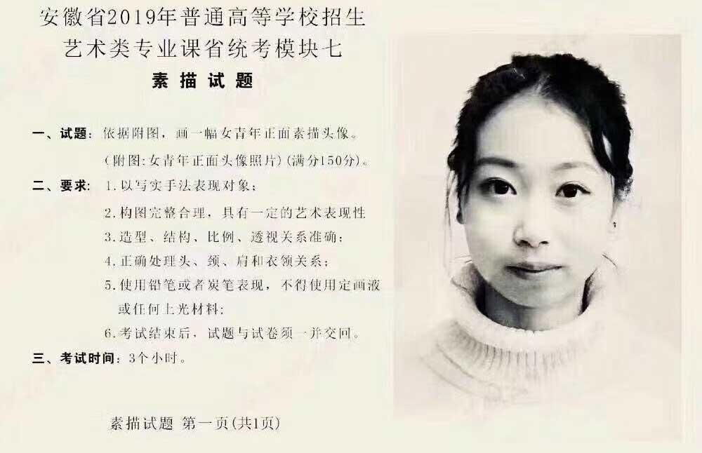 2019年安徽美术联考素描考题