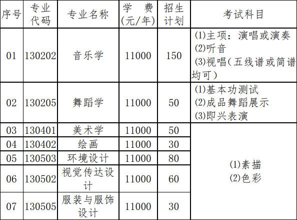 玉林师范学院2019年艺术类专业招生简章