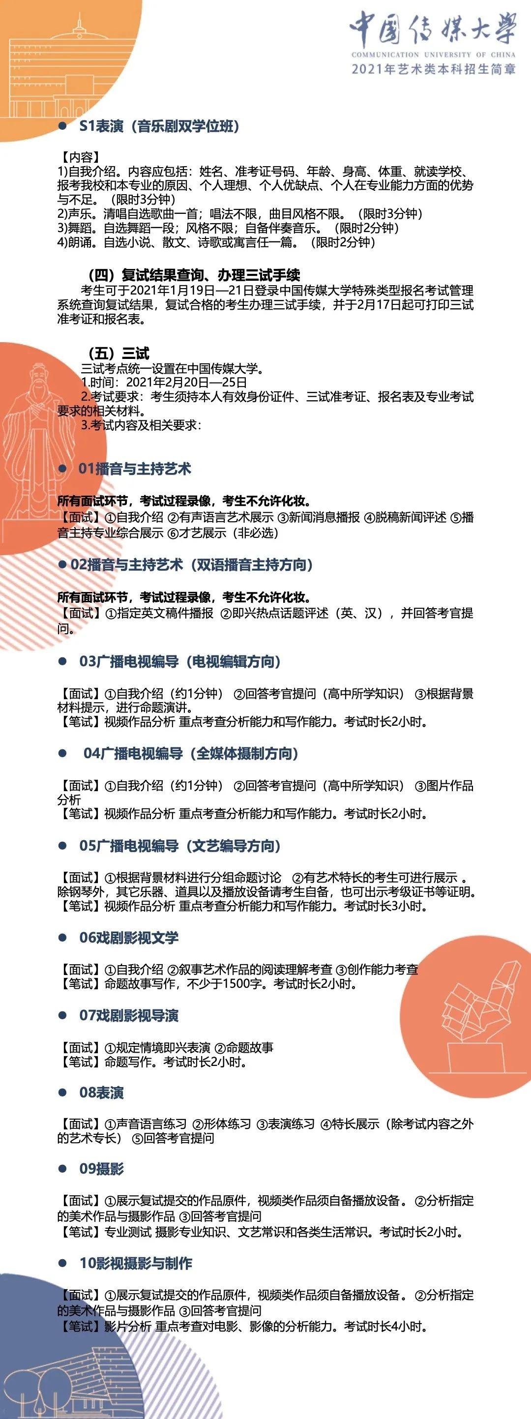 中国传媒大学2021年艺术类本科招生简章6