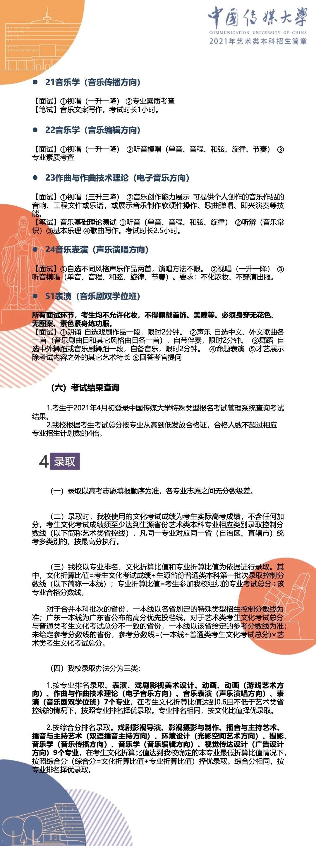 中国传媒大学2021年艺术类本科招生简章8