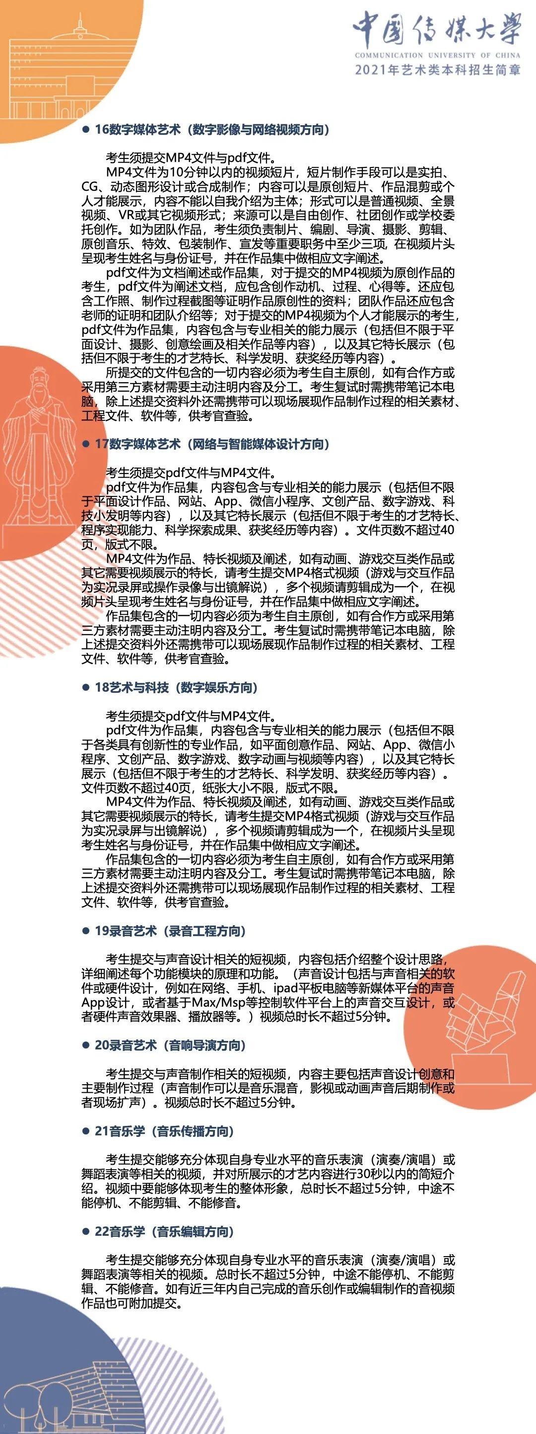 中国传媒大学2021年艺术类本科招生简章14