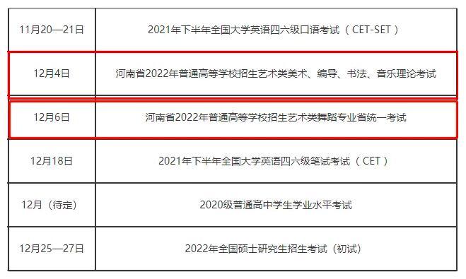 2022年河南省艺术类统考报名考试时间联考大纲