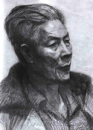 男老年素描头像作品