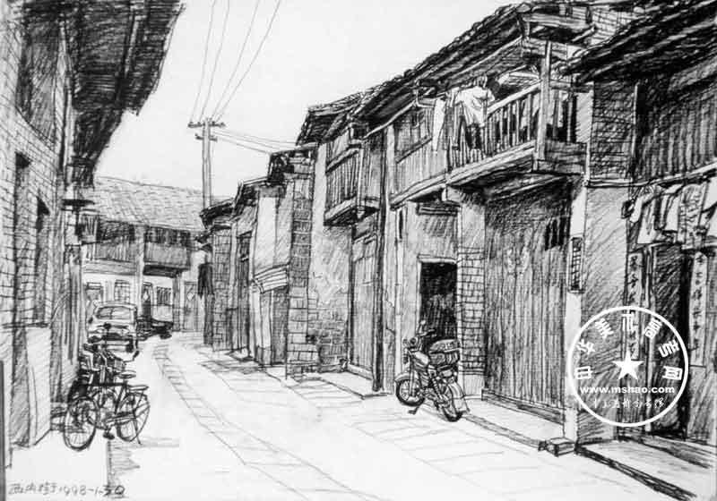 素描风景写生作品(5)_中华美术高考网