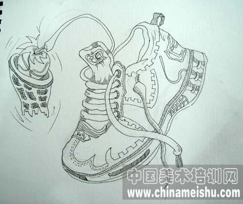 鞋子创意速写图片; 优秀创意速写作品(6);