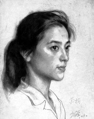 中国油画大师靳尚谊优秀素描头像作品