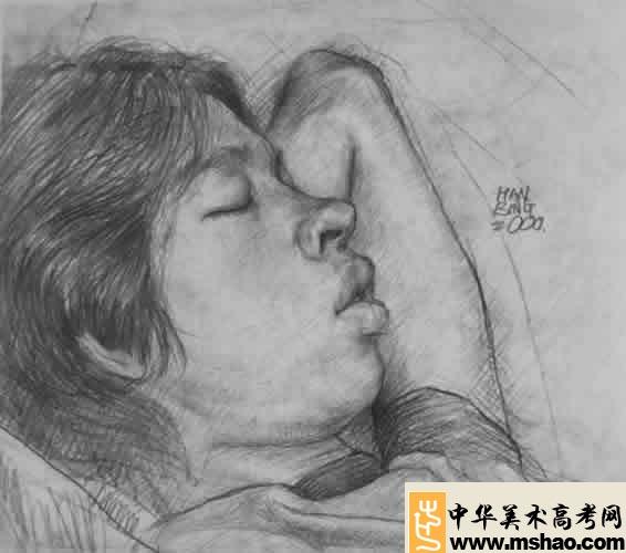优秀素描头像试卷,中国美术学院