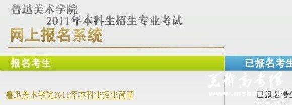 2011年鲁迅美术学院本科网上报名系统
