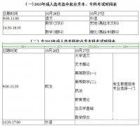 2013年全国成人高校招生统一考试时间表